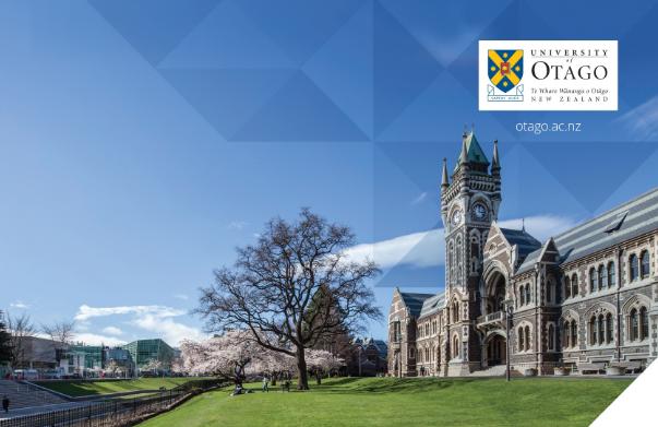 ทุนเรียน University of Otago นิวซีแลนด์
